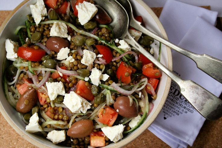 Brown Lentil Greek Salad