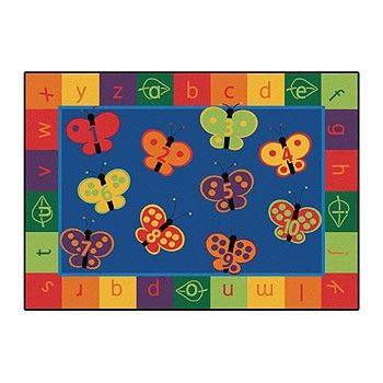 A Whimsical Butterfly Rug. Little Ones Will Love The Bright Colors!
