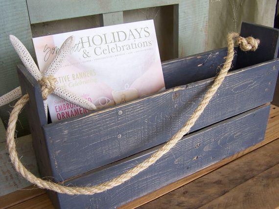 Primitive Repurposed Pallet Wood Hanging Magazine Holder