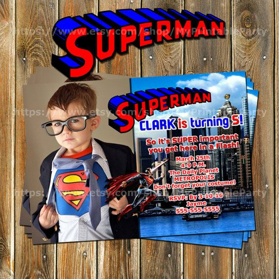 Superman Invitation-Superman Birthday by MyPrintableParty on Etsy
