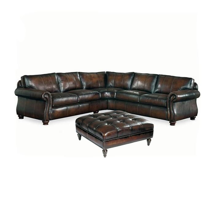 2-Piece Brown Leather Sectional and Ottoman for the basement| Nebraska Furniture Mart