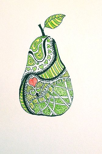 I Heart Pears - original zentangle inspired drawing
