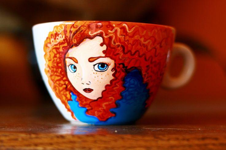 cana pictata Brave #handmade #painted #mug #art #brave #redhair #coffeemug