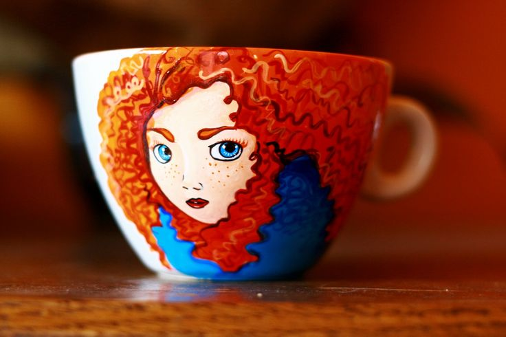 cana pictata Brave #handmade #painted #mug #art #brave #redhair #coffeemug