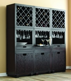 Amazing wine cabinet! Love the wine storage, wine glass hanging space, and hidden cabinets. Beautiful piece for international, coastal, old world, or arts and craft style home.