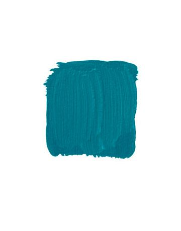 """BENJAMIN MOORE CARIBBEAN BLUE WATER 2055-30: """"I was not about to do Old World Park Avenue in this modern 1950s building. I had a bedroom suite with a nondescript 2-by-4-foot hallway that I painted a gorgeous bright turquoise. There are insipid blues and garish blues, and then there are blues that have an inner light to them, like this. With white moldings and a white plaster mirror, it really made an impact."""" -LARRY LASLO   - HouseBeautiful.com"""
