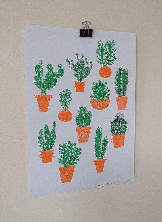 Cactus Family Risograph print by CarolineDowsett on Etsy, £10.00