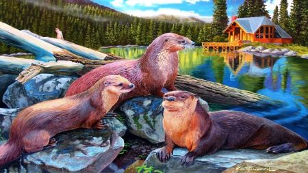 Otters - forest, log, Otters, pond, cabin