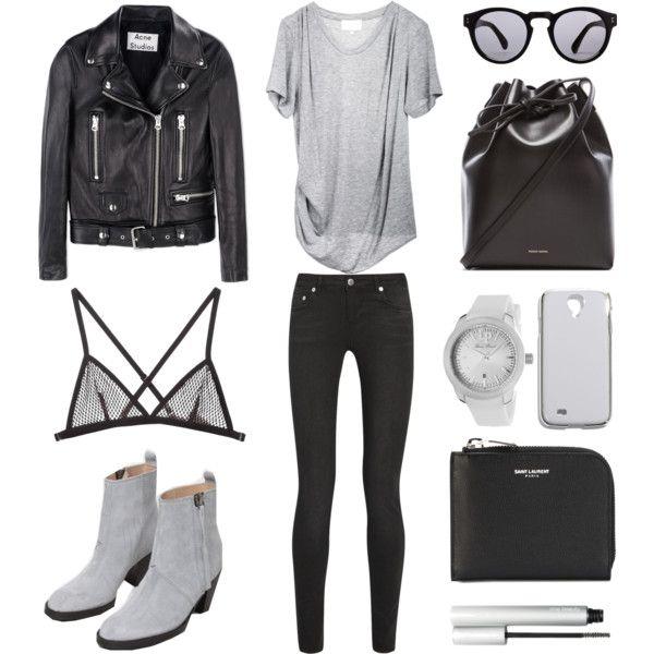 Grey Accents by fashionlandscape on Polyvore featuring мода, 3.1 Phillip Lim, Acne Studios, BLK DNM, Fleur du Mal, Mansur Gavriel, Yves Saint Laurent, Lucien Piccard, Madewell and Illesteva