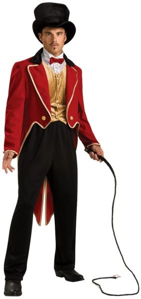 Adult RingMaster - Lion Tamer Male Costume  He can tame the wildest animal!  Costume includes black top hat, red tailcoat, gold vest with attached shirt front and tie, and black pants.  Standard - Fits up to 44 inch chest