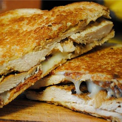 Dijon Chicken Club Sandwiches: (2 parts): 1) 4 slices whole wheat bread; 2 slices smoked mozzarella cheese; 4 slices bacon; 2 pieces of Dijon chicken (See below); 2 tsp Dijon mustard. 2) MARINADE: 1/3 cup Dijon mustard; 2 T apple cider vinegar; 2 T honey; 1T lemon juice; 1 tsp dried thyme; 1 tsp smoked paprika; 1 tsp black pepper; 1/2 tsp salt.