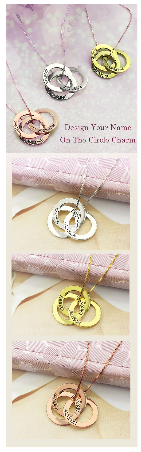 Engraved Russian Ring Necklace  Make Mother's Day unforgettable with the perfect gift! Design a Mom Ring Necklace especially for her, with engraving name of her loved one from getnamenecklace.com