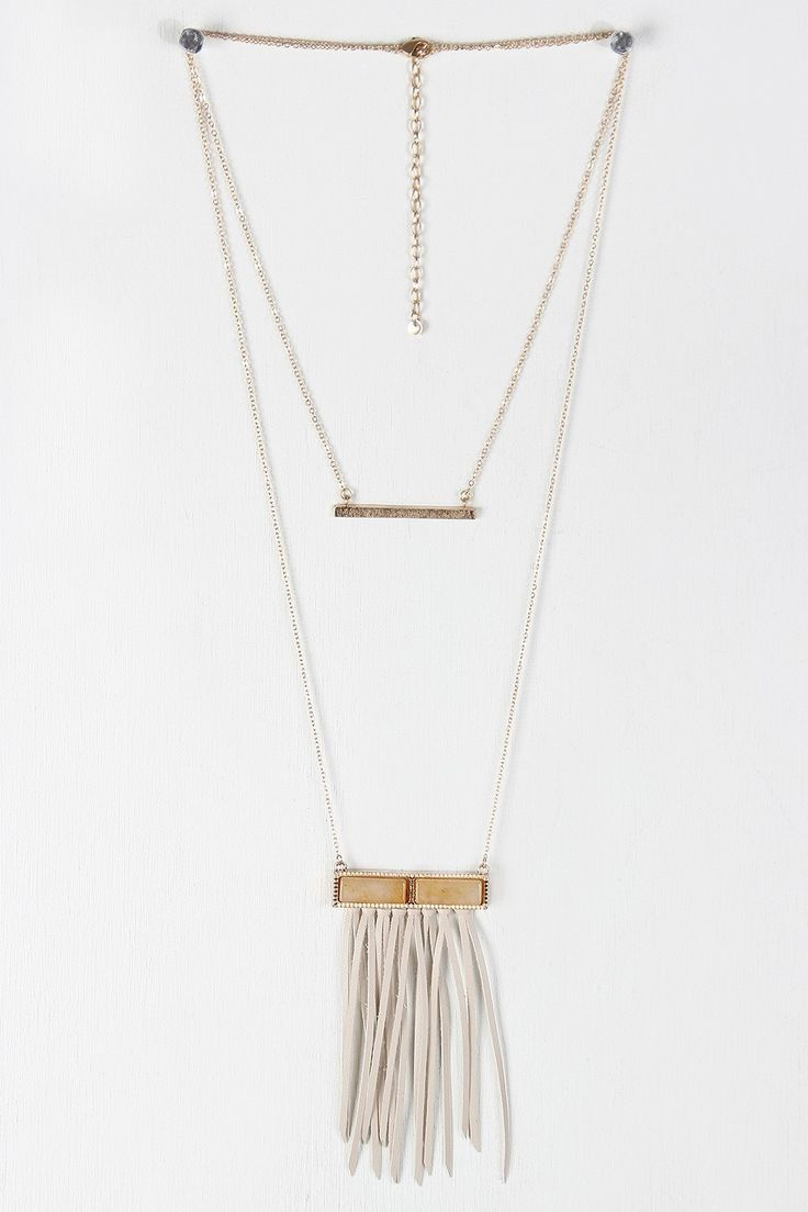 Double Layer Fringe Bar Necklace