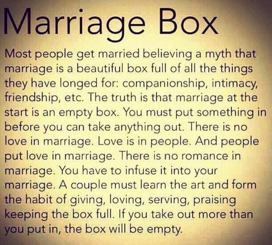 marriage box -- you get what you put into it YES YES YES! I have paraphrased this many times....now I have the original here to quote.