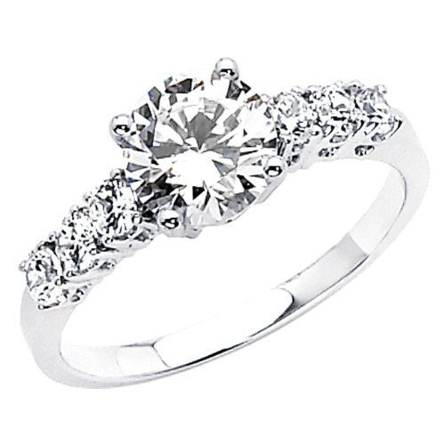 14K White Gold High Polish Finish Round-cut 1.50 CTW Equivalent Top Quality Shines CZ Cubic Zirconia Ladies Solitaire Wedding Engagement Ring Band - Size 4 The World Jewelry Center,http://www.amazon.com/dp/B004968VSE/ref=cm_sw_r_pi_dp_7LTIrbA5E8C14FA9