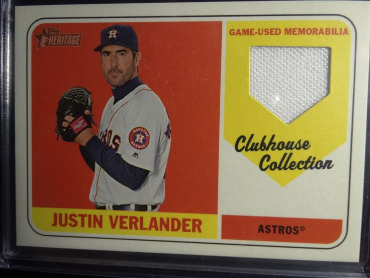 2018 Topps Heritage Justin Verlander Clubhouse Collection Jersey Relic Card #Topps #HoustonAstros