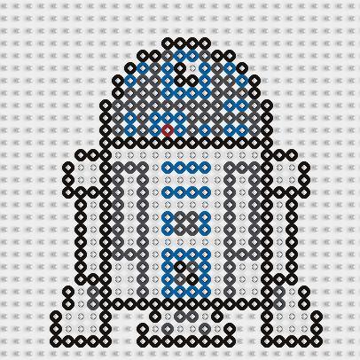 Plantilla Hama R2-D2 (Star Wars) www.tuburbuja.es