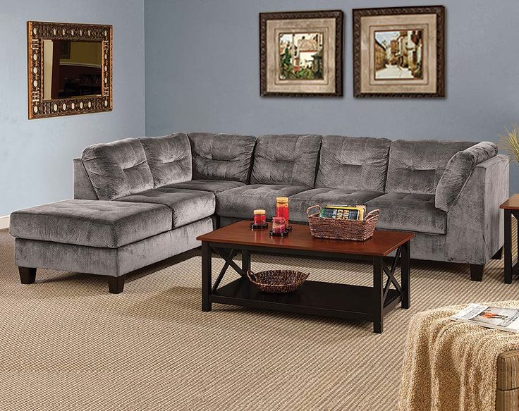 Silver, Gray Plush Couch | Olympian Platinum 2 Piece Sectional Sofa