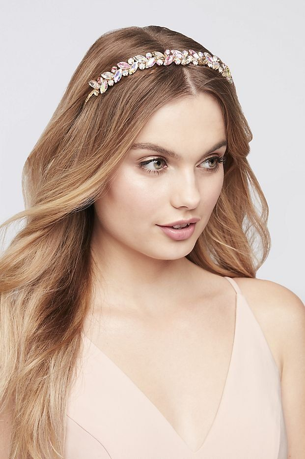 Iridescent Pastel Leaf Headband David S Bridal Prom Hair Accessories David Bridal Prom Dress Prom Hair Jewelry