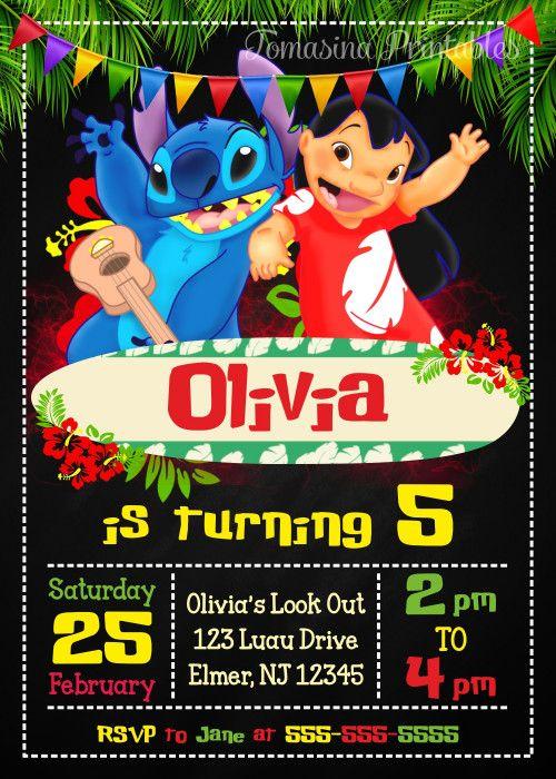 Lilo And Stitch Birthday Invitation Printable Party