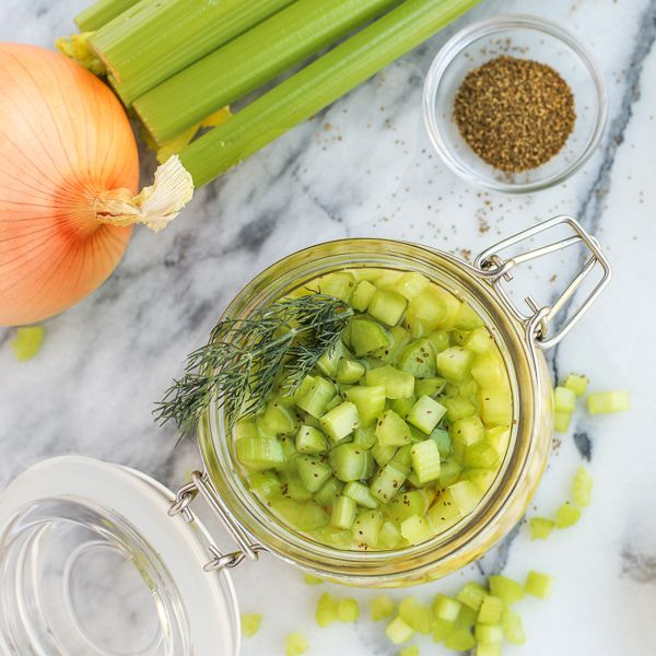This Quick Pickled Celery is tangy and crunchy, and so easy to make!