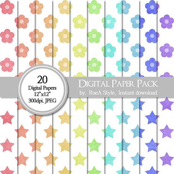 SALE 20 Digital Paper Pack flower star pattern  by rueastyle