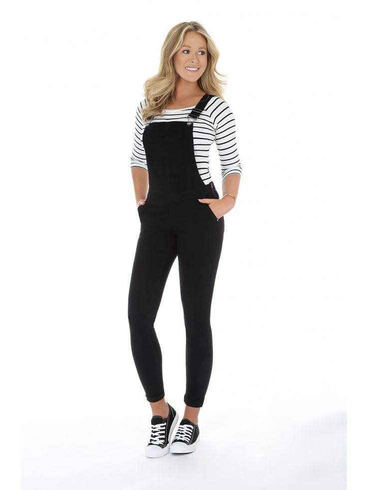 Make a stylish addition to your collection of wardrobe staples without breaking the bank with these women's black skinny dungarees. With a large front pocket...