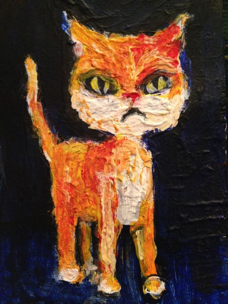 "Cat  , Acrylic original  ,ACEO  jack larson 3.5""x2.5""  #Abstract"