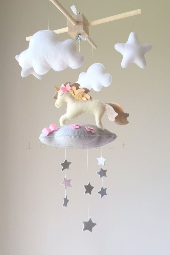Baby mobile cloud mobile unicorn mobile baby by lovefeltmobiles