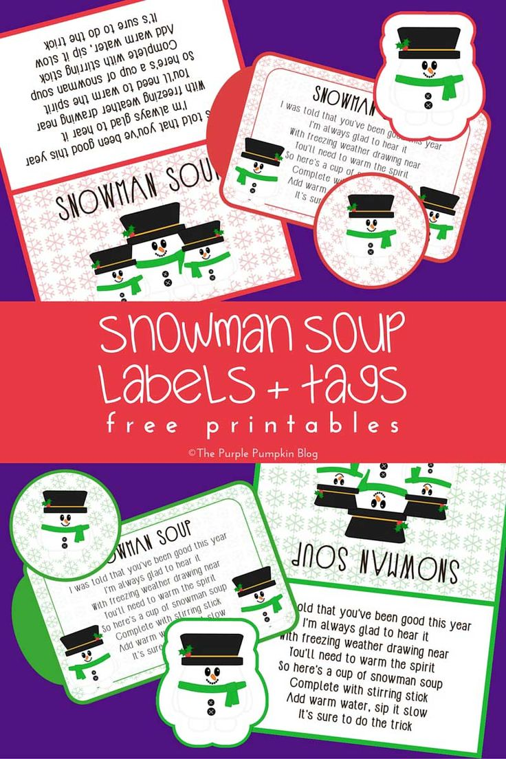 Snowman Soup Labels + Tags - Free Printables! This set has labels, tags, and a snowman soup poem. Makes a fun Christmas gift!