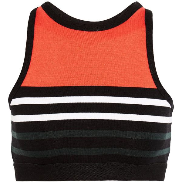 T by Alexander Wang Cropped striped stretch cotton-jersey sports bra (4,475 INR) ❤ liked on Polyvore featuring activewear, sports bras, bright orange, t by alexander wang, striped sports bra, striped jersey, red jersey and orange sports bra