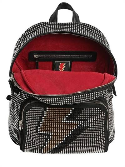LES PETITS JOUEURS - STUDDED BOLT SUEDE & LEATHER  BACKPACK - BLACK/SILVER