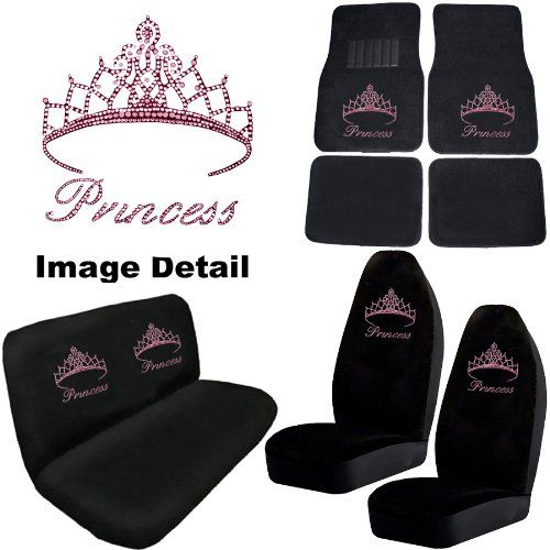 Gift For CHRISTINE Pink Princess W Cute Crown Gem Crystal Studded Rhinestone Bling Car Truck Seat Covers CarsHonda