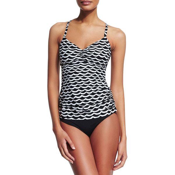 Seafolly Tidal Wave DD Tankini Swim Top ($160) ❤ liked on Polyvore featuring swimwear, bikinis, bikini tops, black and white bikini, tankini tops swimwear, cross back bikini top, tankini tops and underwire bras