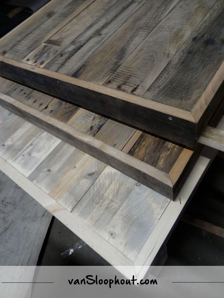 Eiken tafels met versteklijst sloophout hout eiken for Interieur hout