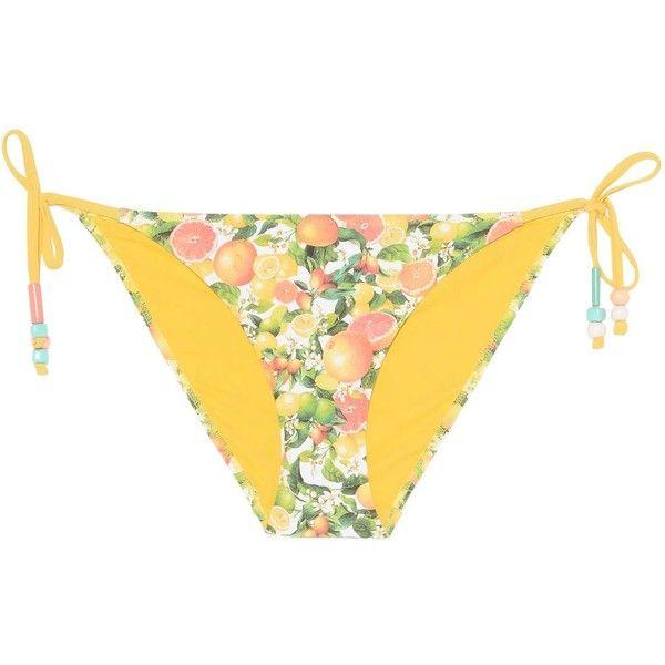 Stella Mccartney Citrus Print Tie Side Bikini Bottoms ($63) ❤ liked on Polyvore featuring swimwear, bikinis, bikini bottoms, multicolor, side tie bikini bottom, bikini bottom swimwear, tie belt, beaded bikini and yellow bikini bottoms