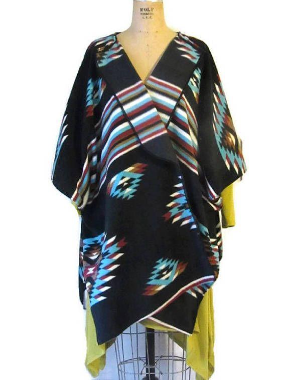 Black Aztec Southwestern Style Poncho Wrap Shawl Vintage