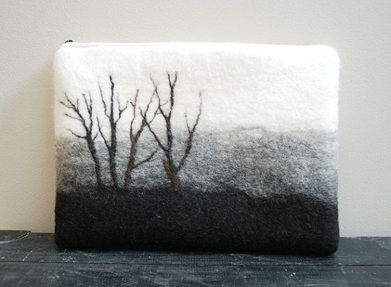 Wet felted pouch - Reduced Price and Free shipping- Laptop Case - Laptop Cover - Laptop Pouch - 11 inch Laptop - Hand Felted