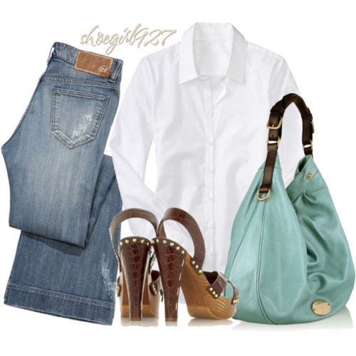 classic: Shoes, Outfit, White Buttons Down, Style Pinboard, Dark Jeans, White Button Down, Women Jeans, Hands Bags, Crisp White Shirts