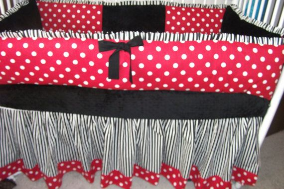Lady Bug red black white polka dot Bumper Pad Baby by abusymother