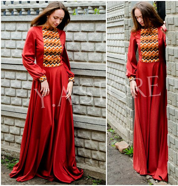 Embroidery Vyshyvanka Maxi Dress Terracotta Woman Long Dress