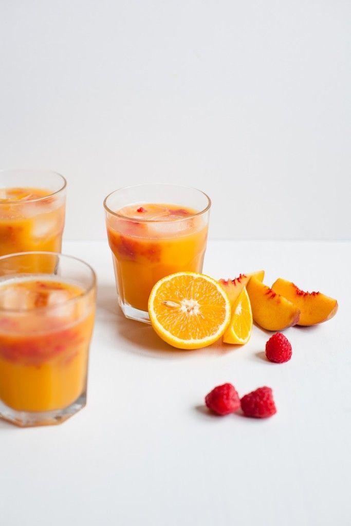 Mocktails - Orange, Peach and Raspberry Juice /