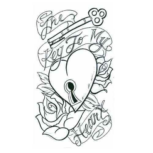 key to my heart heart tattoo design, art, flash, pictures ...