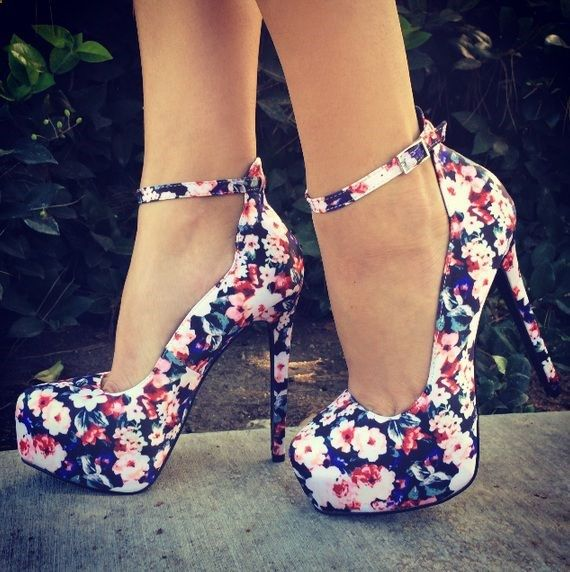 i would never have anything to wear these with, but they are so. cute. flowered ankle strap pumps