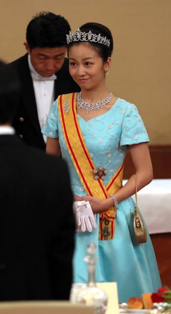 Princess Kako, the granddaughter of Emperor Akihito and Empress Michiko, attends a banquet at the Imperial Palace in Tokyo on Oct. 11, 2016, held in honor of Belgian King Philippe and Queen Mathilde who visited Japan as state guests to commemorate the 150th anniversary of bilateral ties.