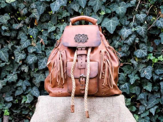 Handmade Leather Backpack / Hand Made Leather Boho Satchel / Womens Brown Leather Back Pack #transylvanianmonk #handmade #leatherbag