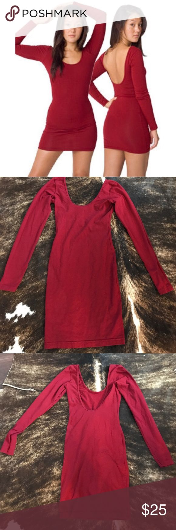 Scoop back American Apparel red dress Dress this one up or down! Form fitting and rare blood red color ❤️. Small spot on back shoulder Dresses Mini