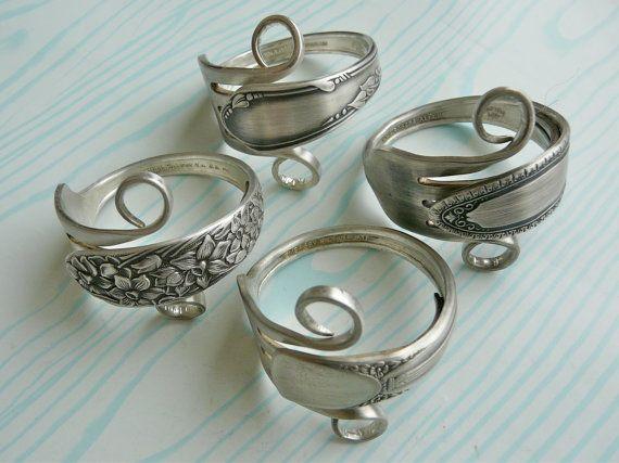 Silverware Napkin Rings, Antique Silver Forks, Set of 4, Lot 5. $38.95, via Etsy.