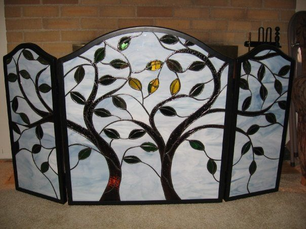 Stained glass tree fireplace screen