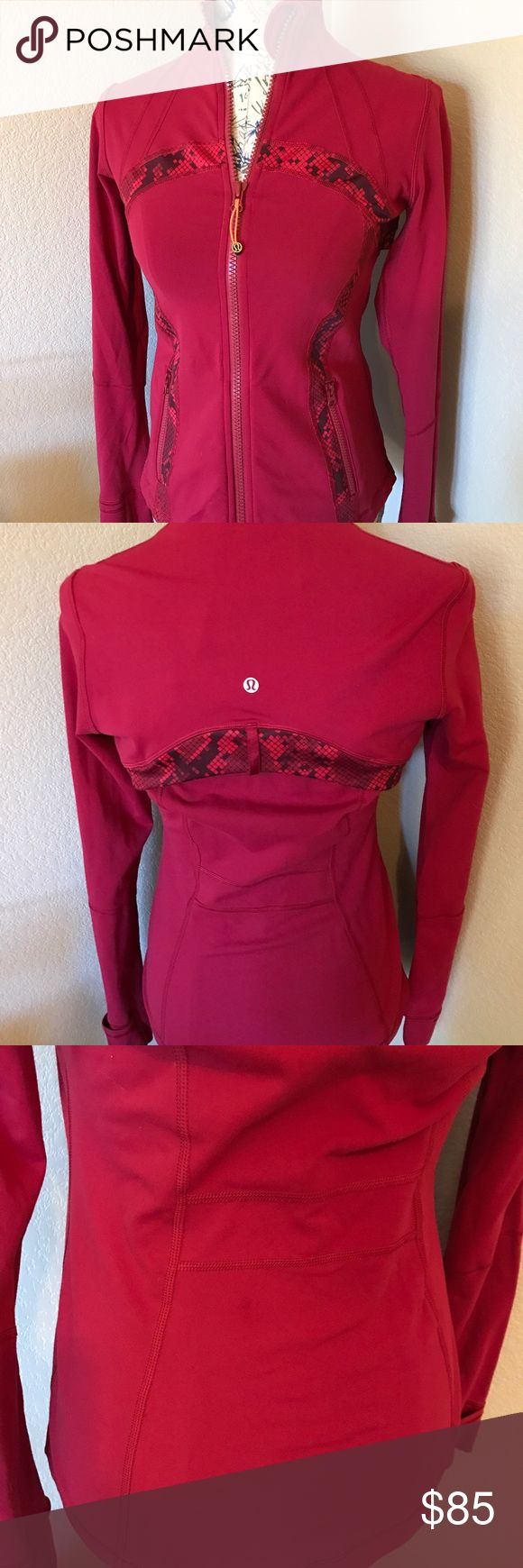 Lululemon Define Jacket - Size 10 Lululemon Define Jacket - Size 10. EUC - Like new...worn twice. There is a small dark spot on the jacket that I didn't notice till after purchase but couldn't exchange as they were out of this style. Color is a pretty Red/Pink with Reptile trim. lululemon athletica Other